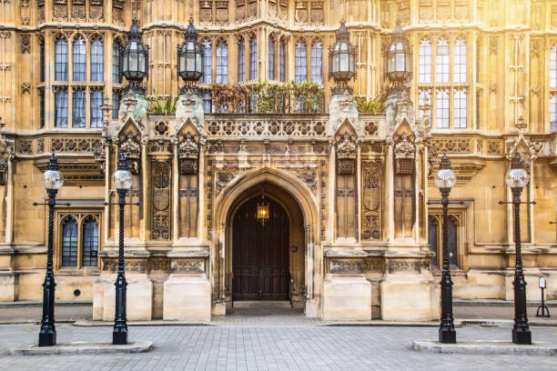 Westminster Abbey Doorway, London stock photo
