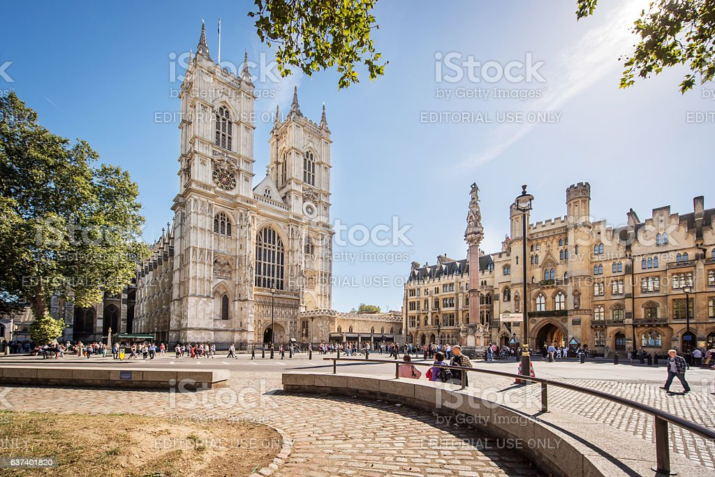 Westminster Abbey from Broad Sanctuary stock photo
