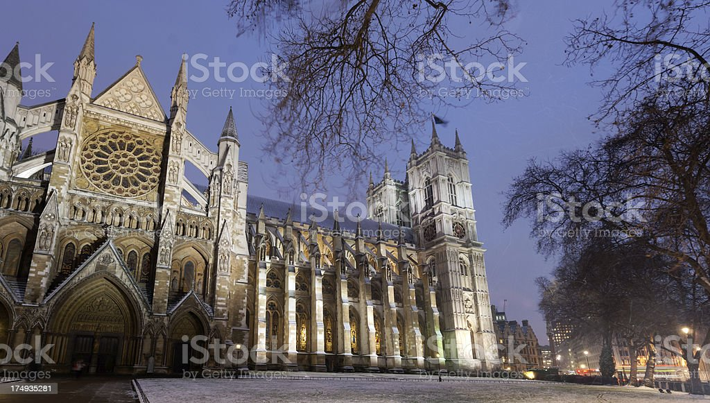 Westminster Abbey in snow royalty-free stock photo