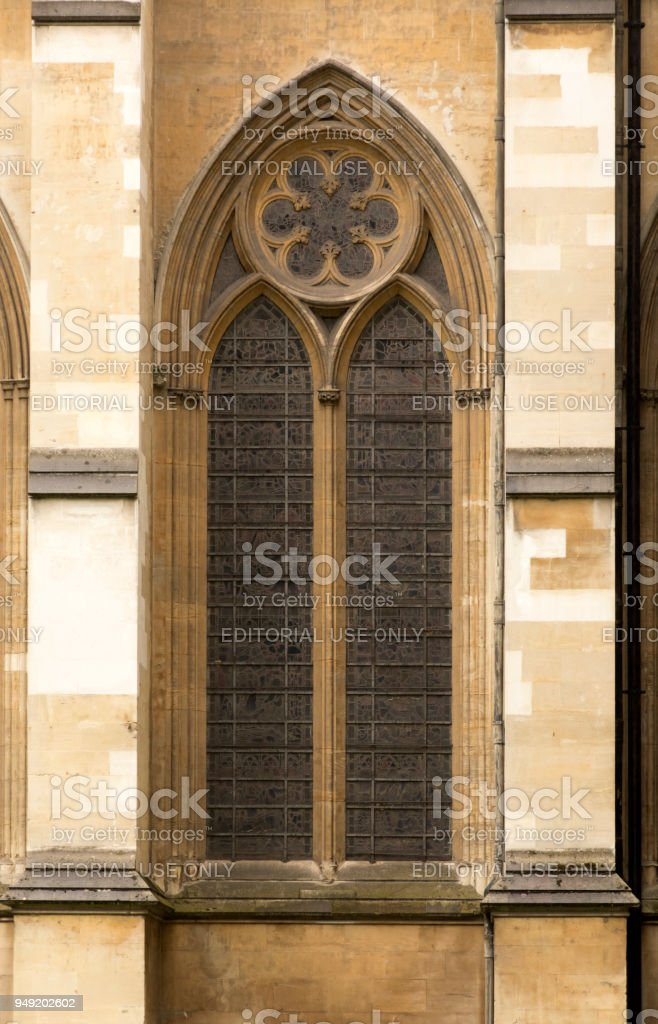 Westminster Abbey stained glass window stock photo