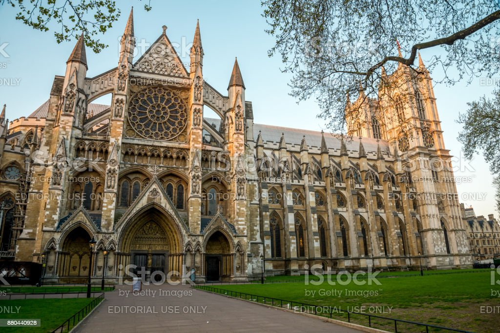 Westminster Abbey view from St Margaret's Church side, London stock photo