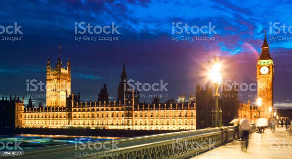 Westminster and Big Ben at night stock photo
