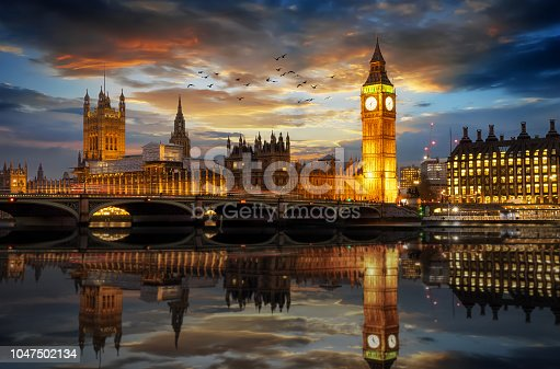 istock Westminster and Big Ben clocktower in London just after sunset 1047502134