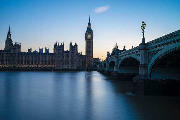 Westminster and river blue stock photo