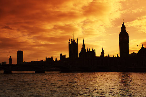 Westminster and the Houses of Parliament at sunset stock photo
