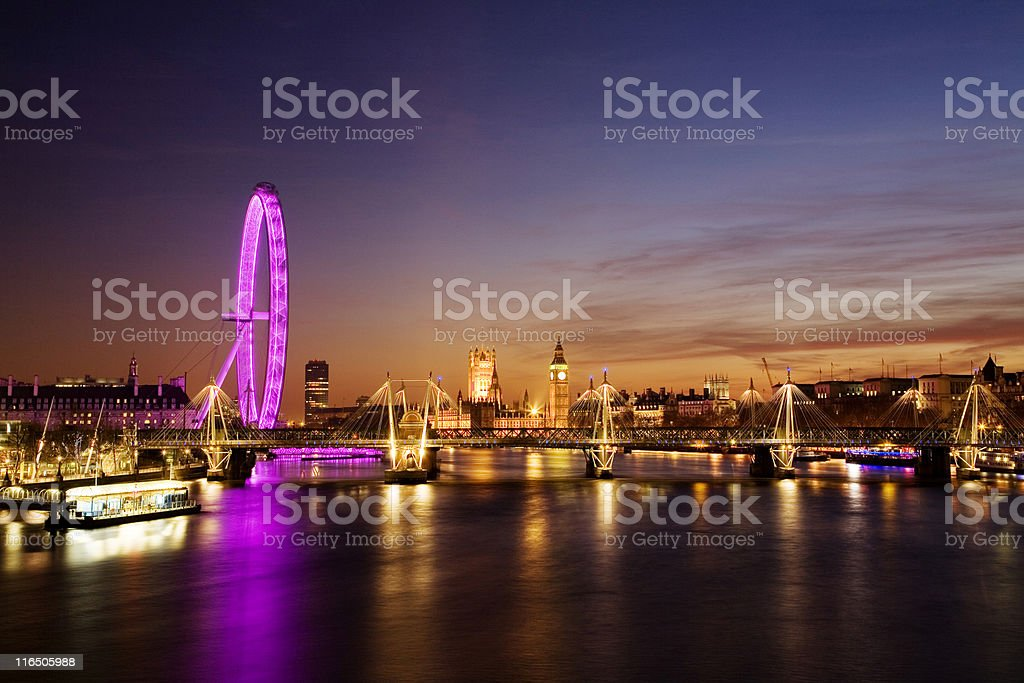 Westminster at sunset stock photo