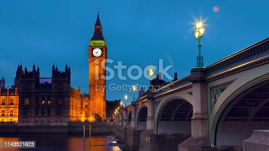 View of The Houses of Parliament at dusk, night view of westminster bridge and elizabeth tower Big Ben, London England