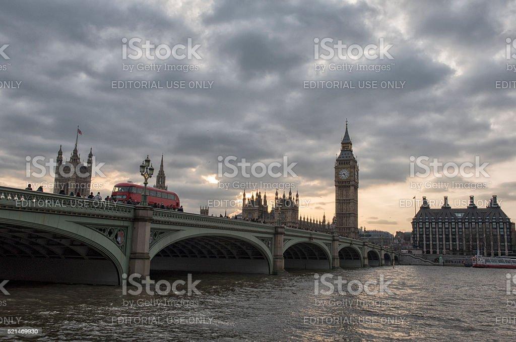 Westminster bridge and Big Ben in London stock photo