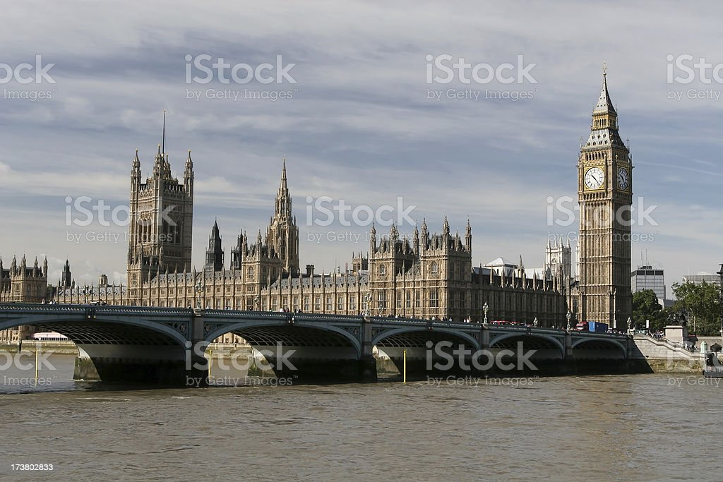 Westminster Bridge and The Houses of Parliament, London royalty-free stock photo