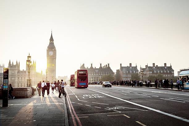 Westminster Bridge At Sunset London UK Stock Photo