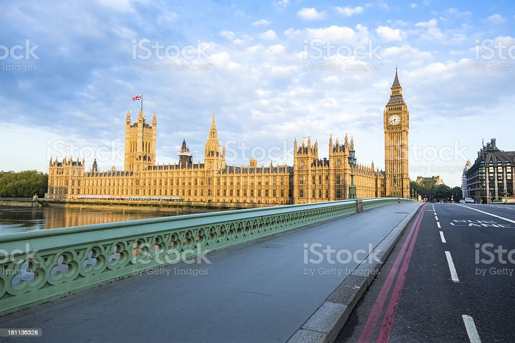 Westminster Bridge, Big Ben and House of Parliament at Sunrise royalty-free stock photo
