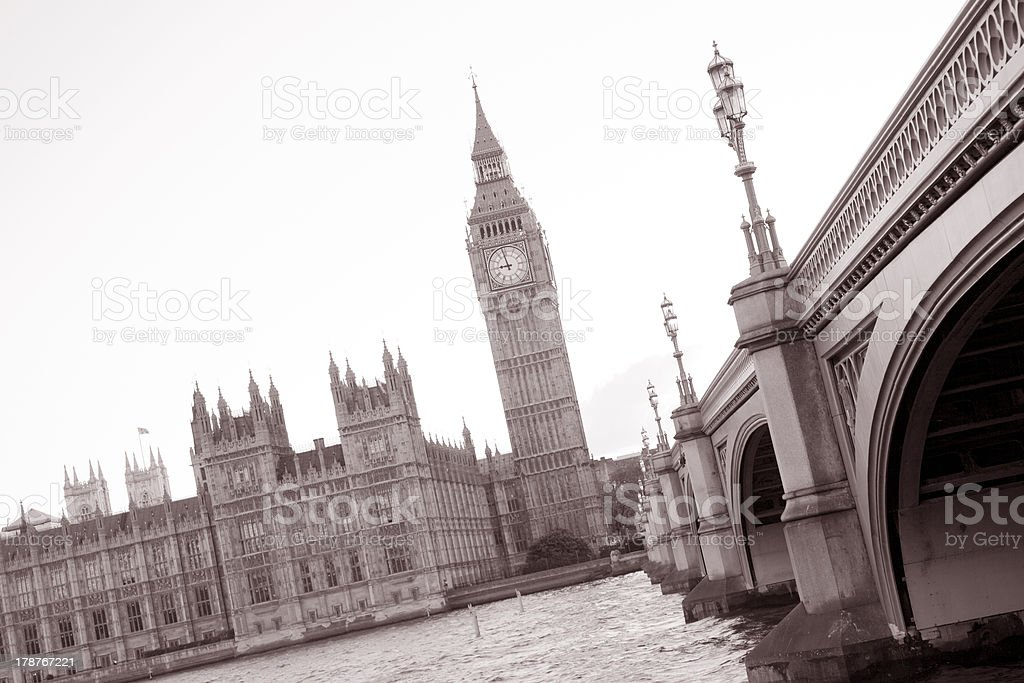 Westminster Bridge, Big Ben and the Houses of Parliament; London royalty-free stock photo