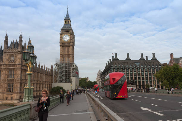 Westminster bridge, Big Ben in the morning stock photo
