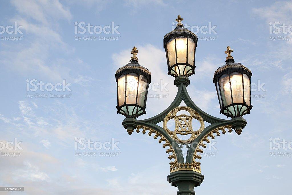 Westminster Bridge Lamppost in London royalty-free stock photo