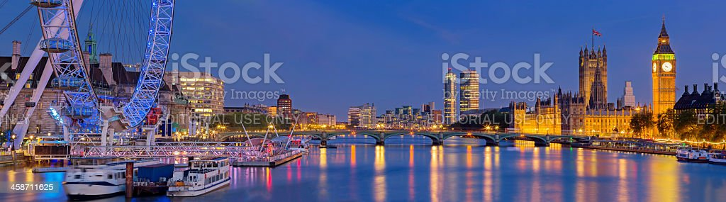 Westminster Bridge panorama stock photo