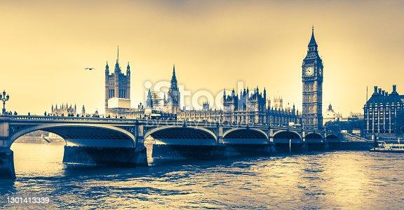 Westminster bridge with Bigben London UK