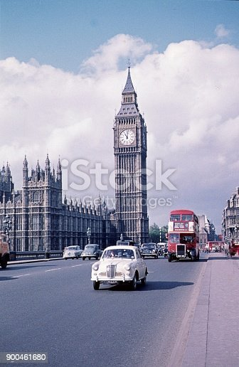 London, England, UK, 1963. Westminster Bridge with Big Ben.