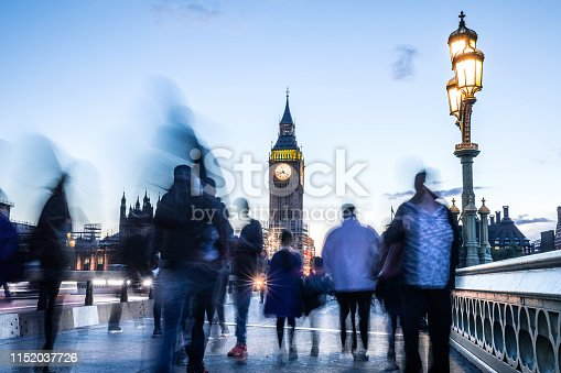 Westminster Bridge - The Big Ben and House of Parliament in London - UK