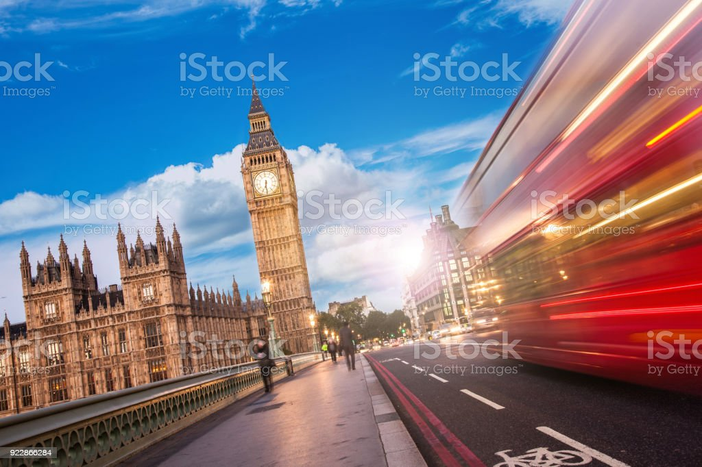 Westminster Bridge - The Big Ben and House of Parliament in London - UK stock photo