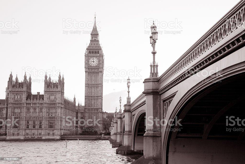 Westminster Bridge with Big Ben, London royalty-free stock photo