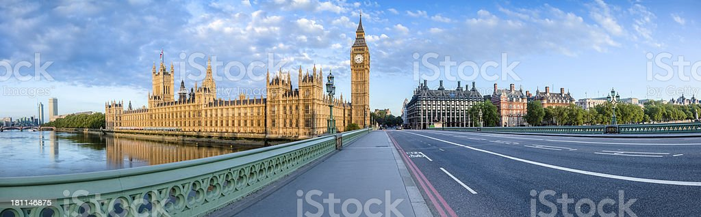 Westminster Bridge with House of Parliament Sunrise Panorama stock photo