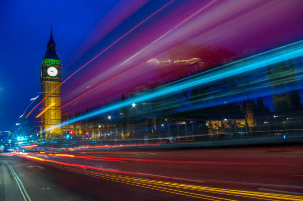 Westminster light trails stock photo