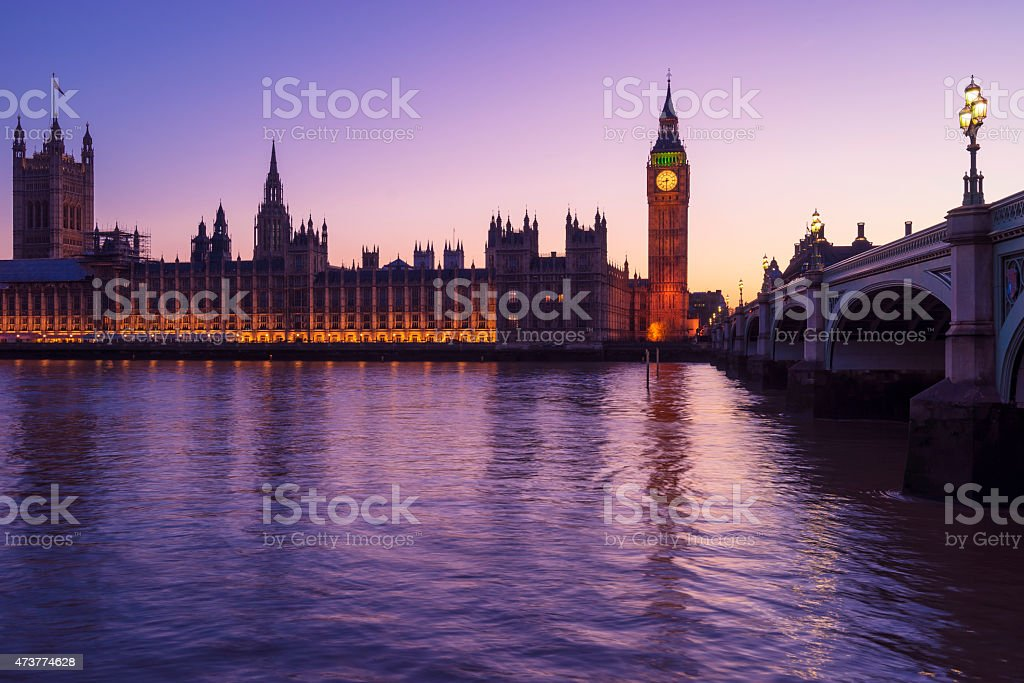 Westminster lights purple stock photo