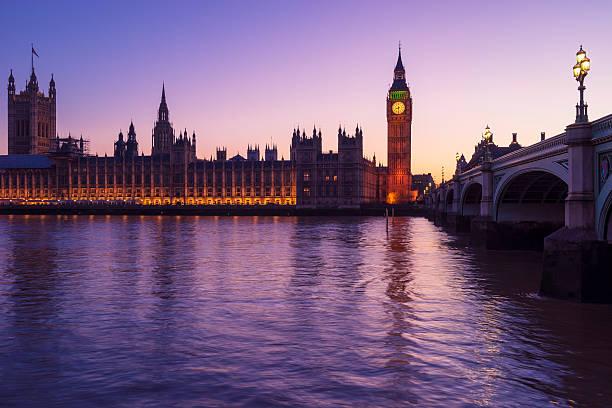 Westminster lights purple stock photo