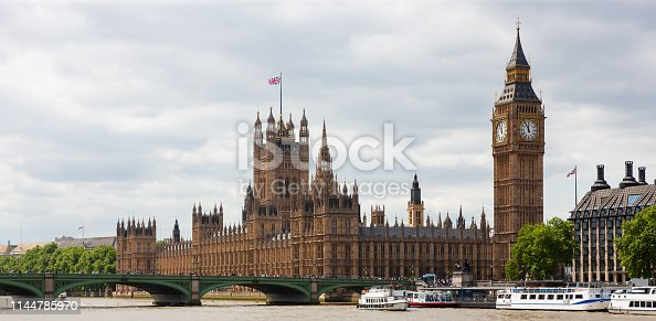Houses of Parliament, Westminster Bridge, and local ferry services at Westminster Pier