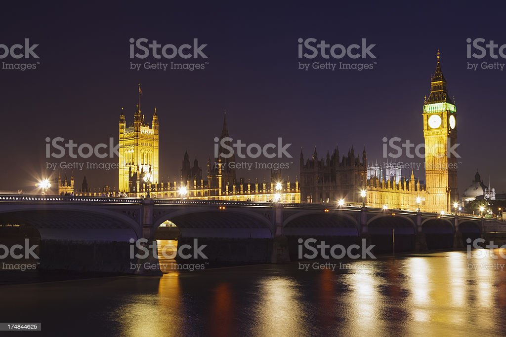 Westminster Palace and Bridge at night royalty-free stock photo