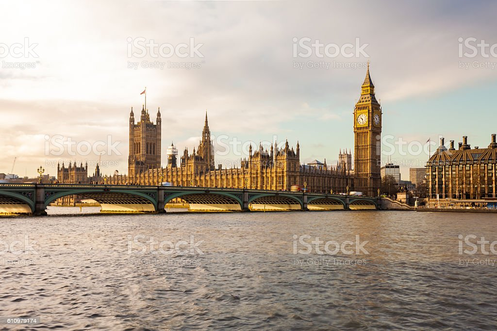 Westminster Palace and the River Thames in London, England stock photo