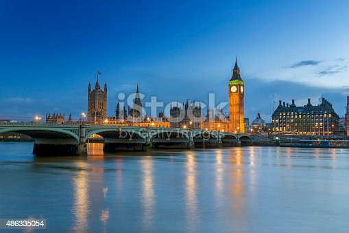View of The Houses of Parliament at dusk.
