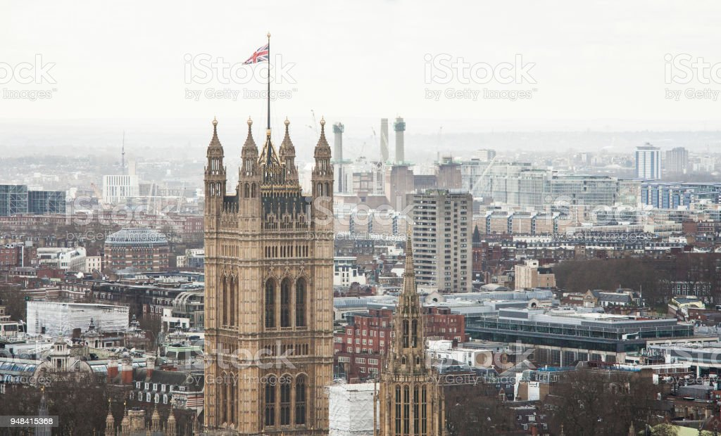 Westminster Palace Tower in London city stock photo