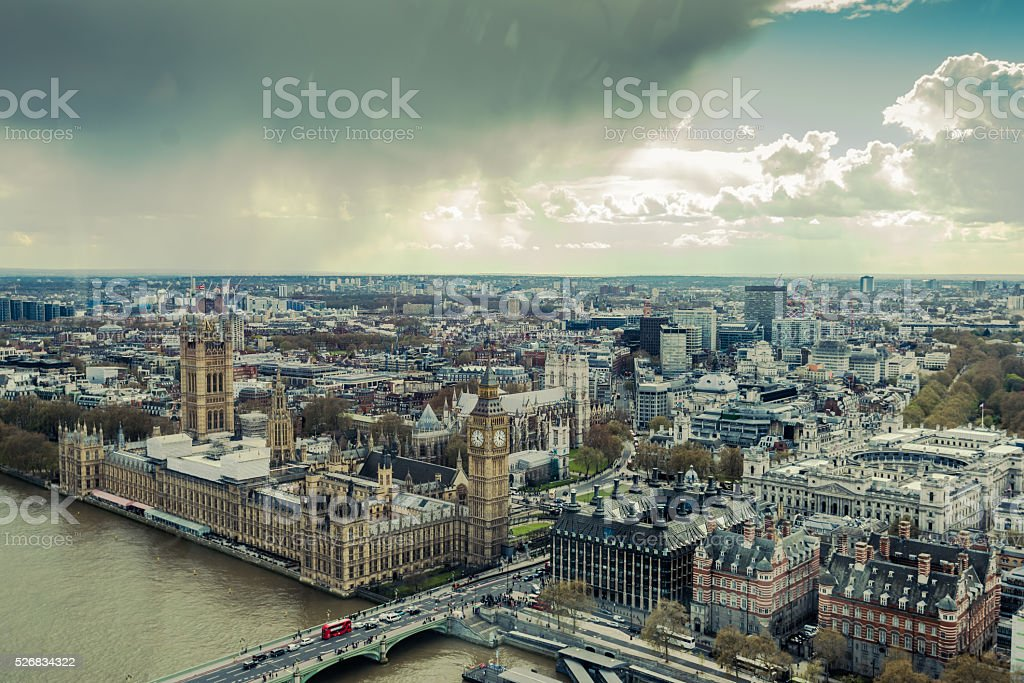 Westminster Palace,Parliament in London aerial view stock photo