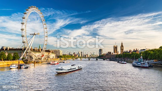 LONDON, JULY 2017 - View of Westminster Parliament, Big Ben and London Eye with Thames and tourist ship in foreground on a sunny summer afternoon