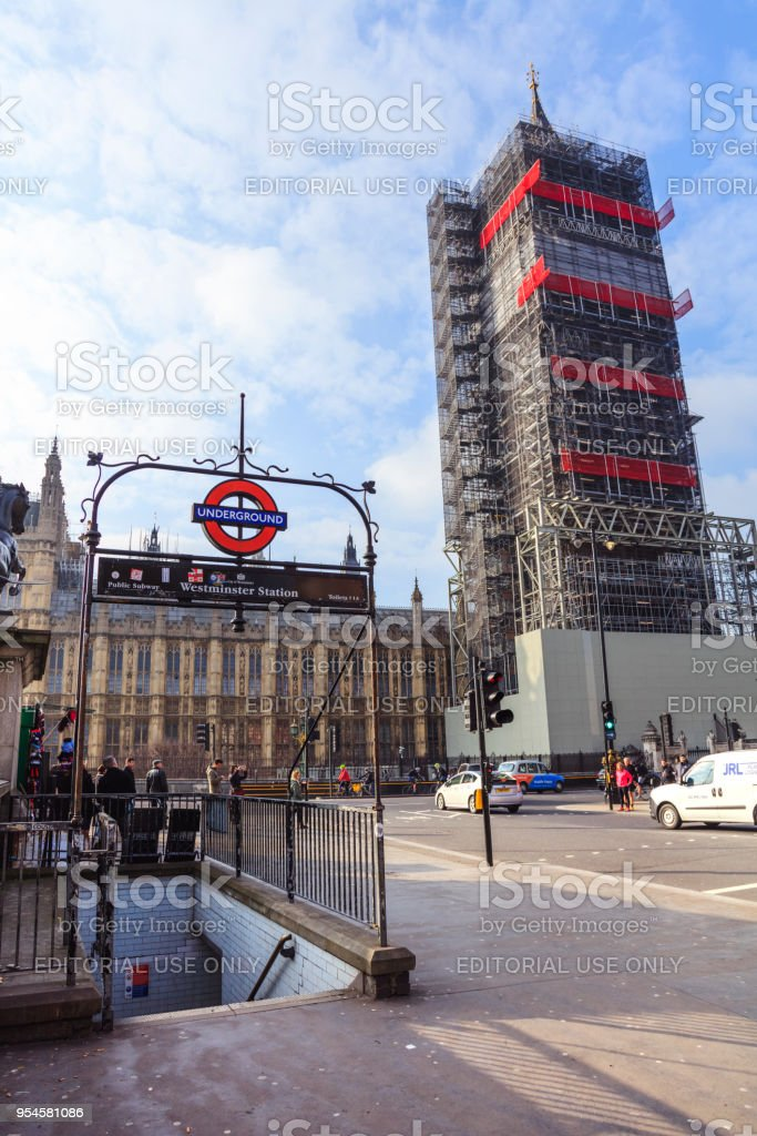 Westminster Station entrance and Big Ben in London at day stock photo