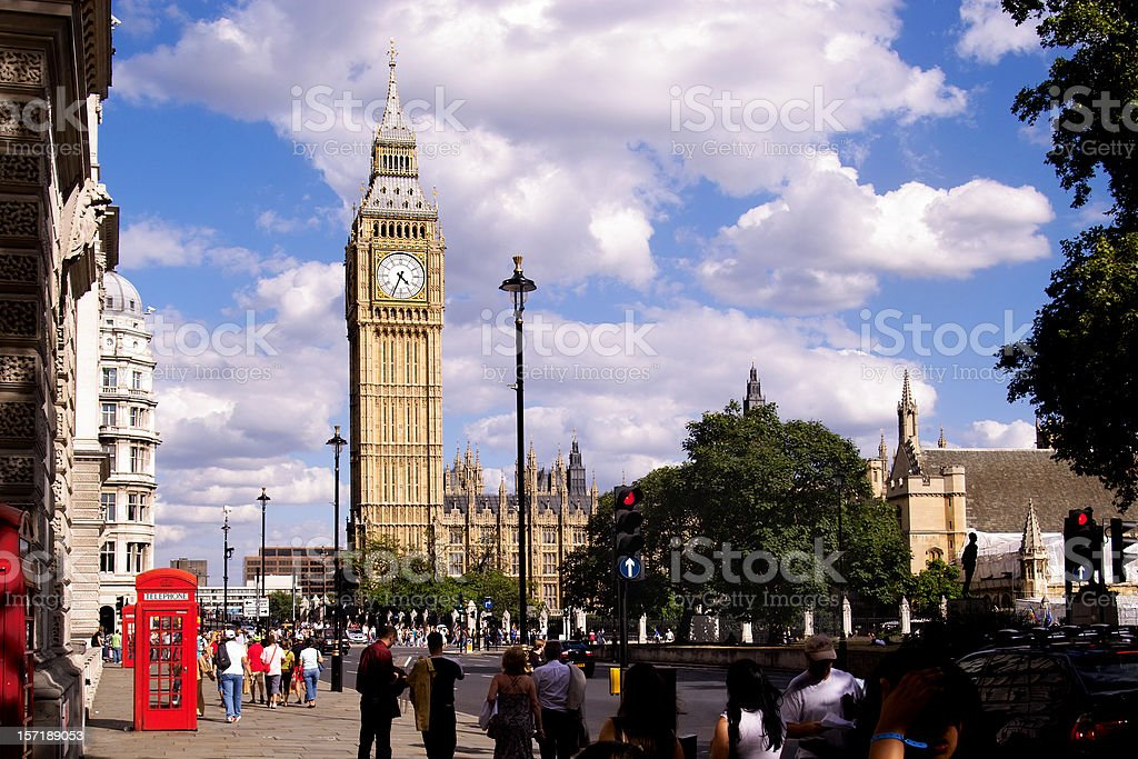 Westminster Street Scene with Big Ben royalty-free stock photo