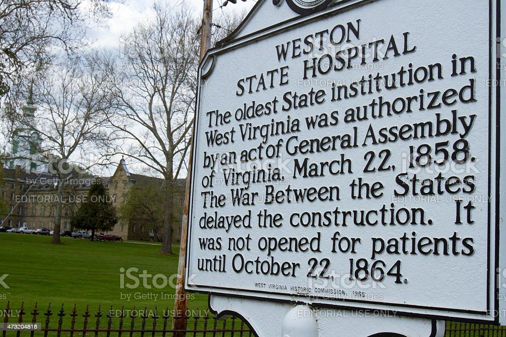 Weston State Hospital Sign stock photo