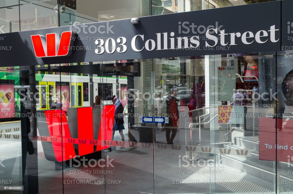 Westpac Bank office in Melbourne, Australia stock photo