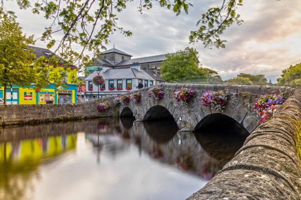 Westport Bridge over the Carrowbeg River in Ireland stock photo