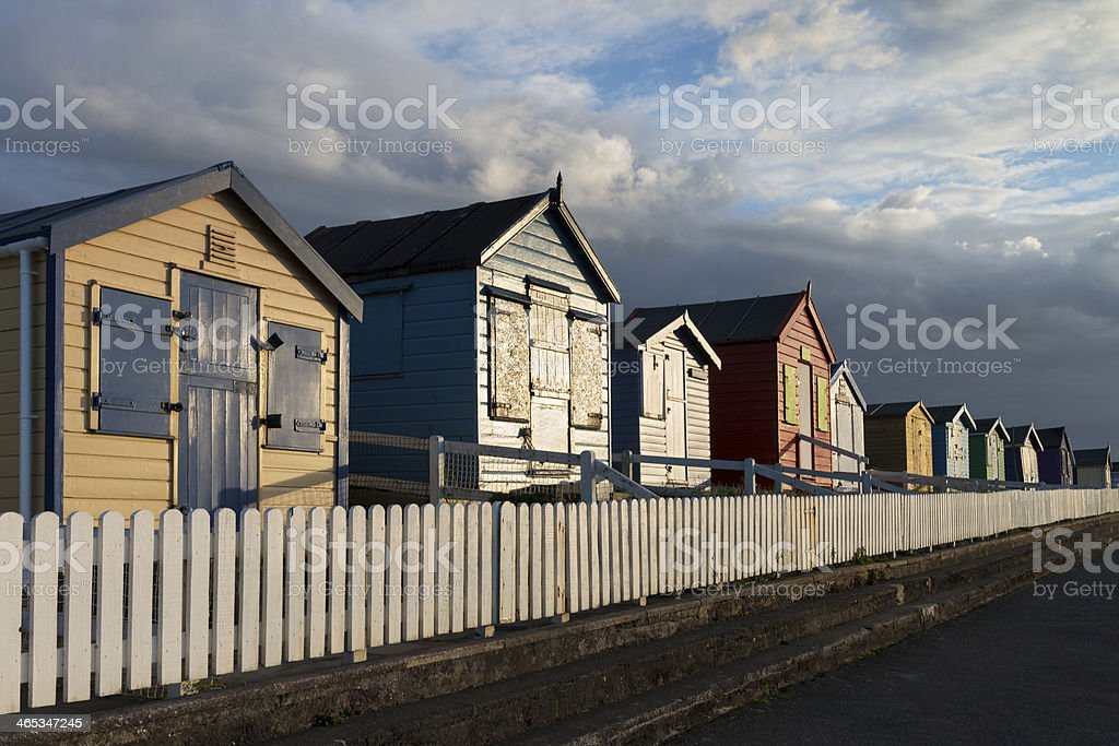 Westward ho beach huts stock photo more pictures of for Model beach huts