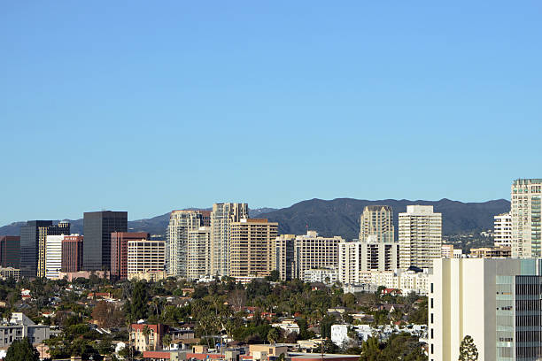 "Westwood ""Looking out at Westwood, CA in Los Angeles and the Santa Monica Mountains.  See also"" westwood neighborhood los angeles stock pictures, royalty-free photos & images"