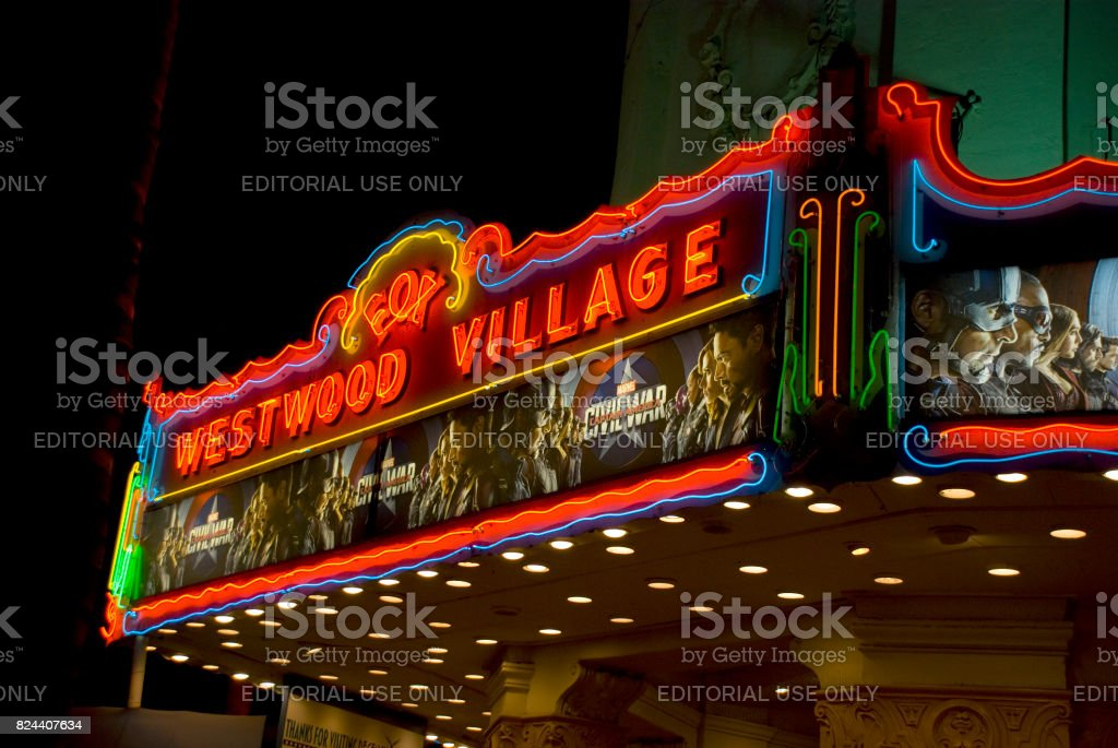 Westwood Village Movie Theatre Illuminated At Night Los Angeles Stock Photo Download Image Now Istock