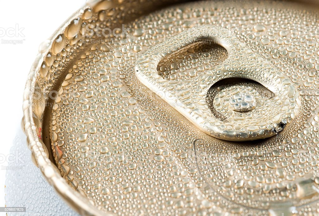 wet aluminum can with drink stock photo