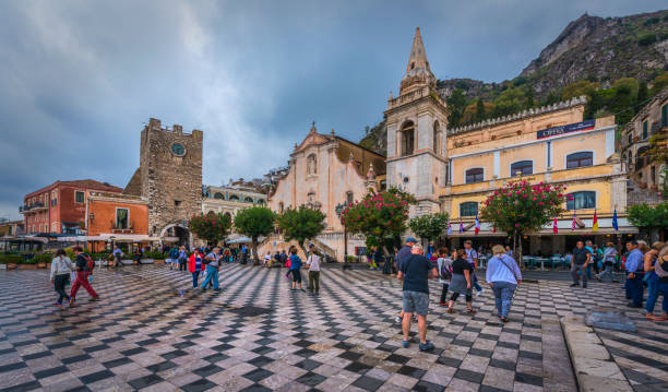 Wet And Dreary Day In Taormina stock photo