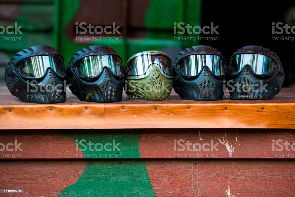 Wet and murdered in a paintball mask after the game стоковое фото