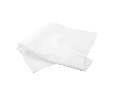 Wet antibacterial wipes isolated on a white background
