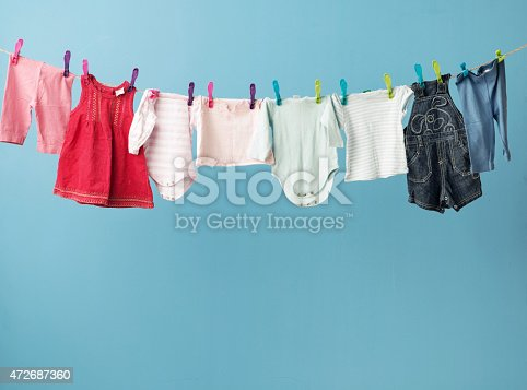 Wet baby's clothes getting dry