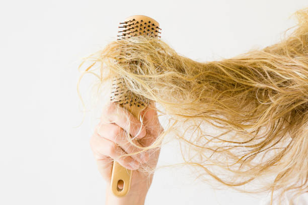 wet, blonde, tangled woman's hair after washing on the light gray background. hand with comb. hair problem and solution. daily women's issues. - capelli ossigenati foto e immagini stock
