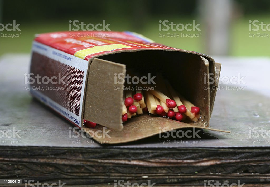 Wet box of kitchen matches royalty-free stock photo